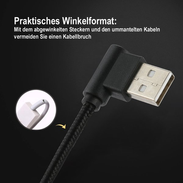 Winkelstecker Lightning Kabel geknickt 90 Grad kompaktes Datenkabel 25 cm geflochtenes Ladekabel robustes Nylon für z.B. iPhone X / iPad / iPad Air / iPod Touch / iPod Nano