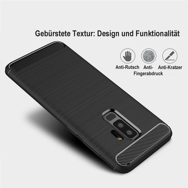 Samsung Galaxy S9 Plus Hülle Brushed Carbondesign...