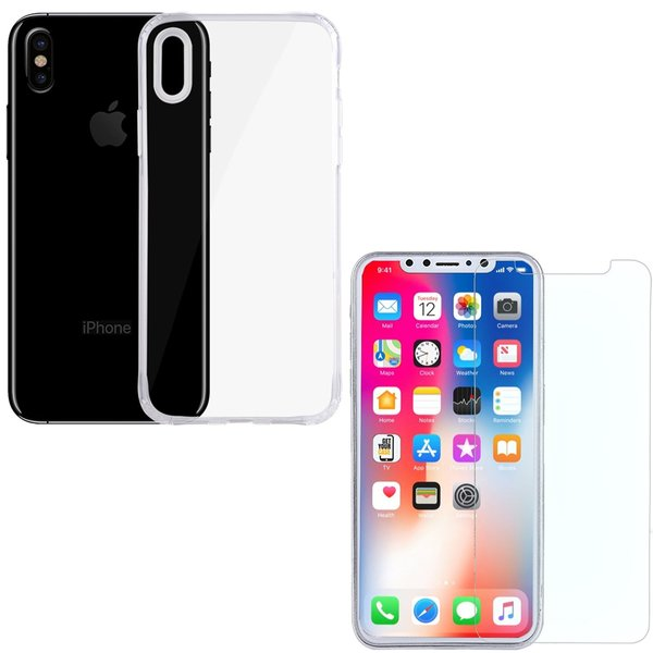 iPhone X Rundumschutz 2 in 1 Set [CASE + PANZERGLAS]...