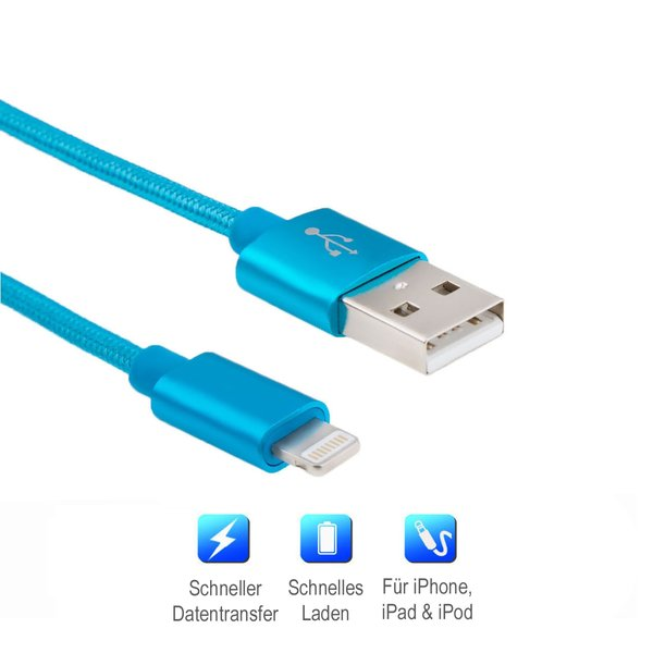 Lightning Kabel 1m Blau geflochtenes Ladekabel High Speed...