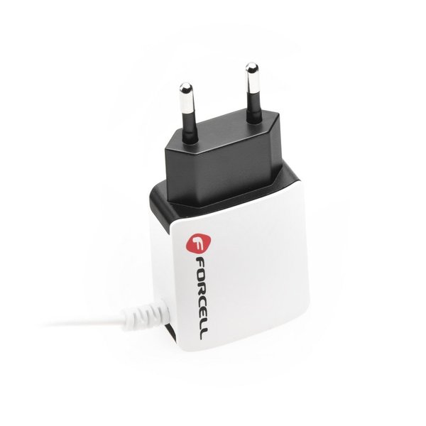 Micro USB Netzteil Ladegerät 2000mAh Ladeadapter + extra USB Anschluss für alle Handys iPhone Samsung Galaxy, HTC, Huawei, Sony, Nokia, LG - Forcell Edition