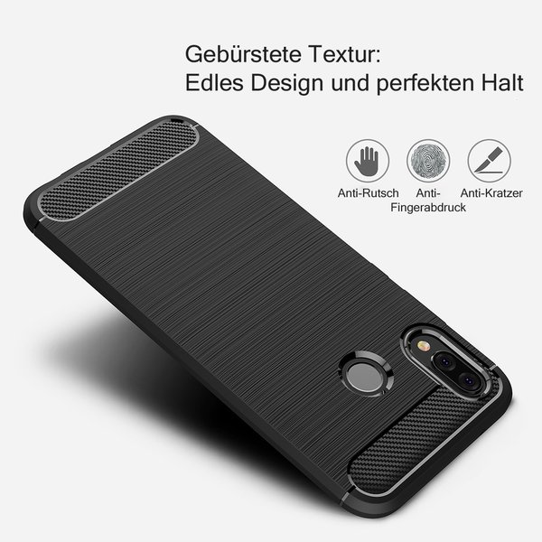 Huawei P20 LITE Hülle Brushed Carbondesign Schutzhülle...