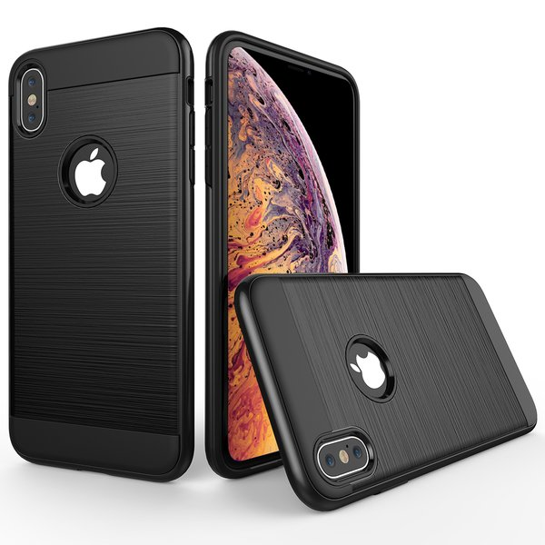 iPhone XS / iPhone X Hülle Brushed Metall-Design doppelte...