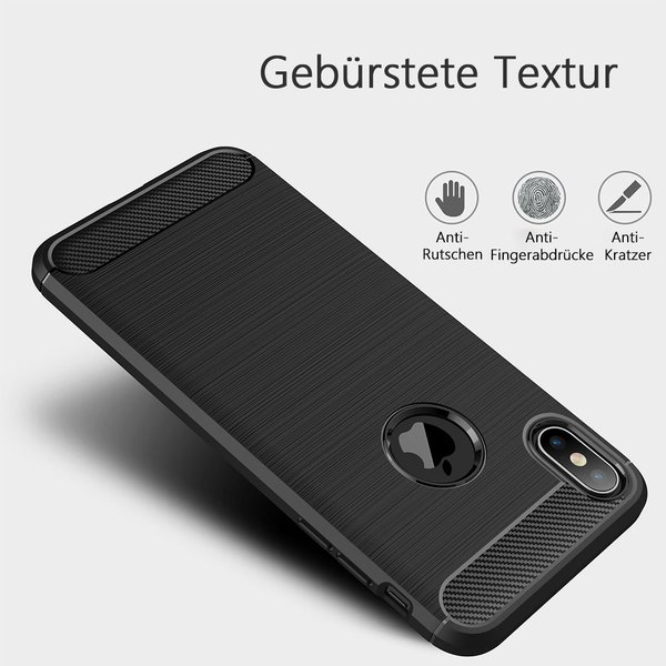 iPhone XS Max Hülle Brushed Carbondesign gebürstet matt...